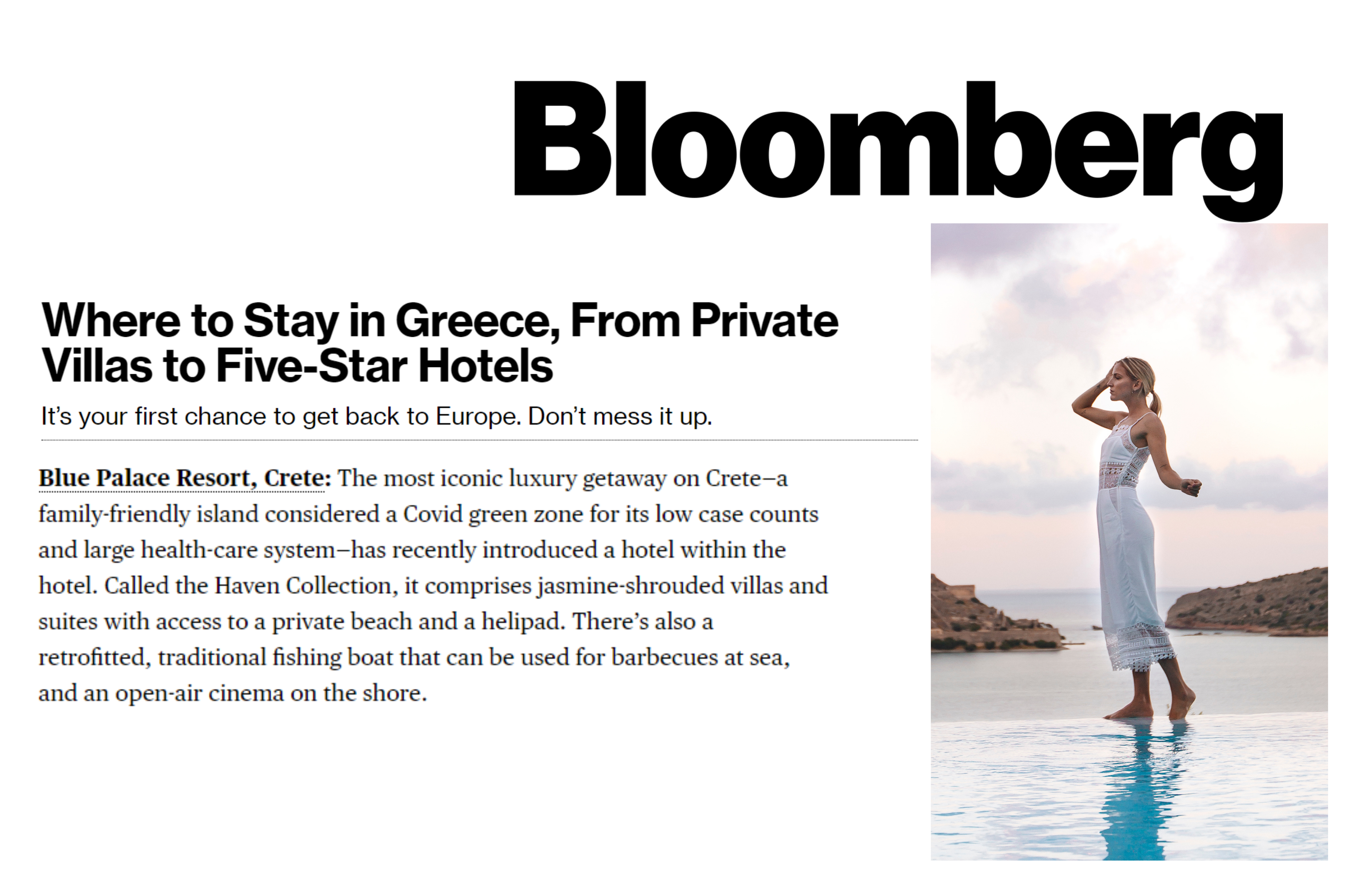 Where To Stay In Greece, By Nikki Ekstein In Bloomberg